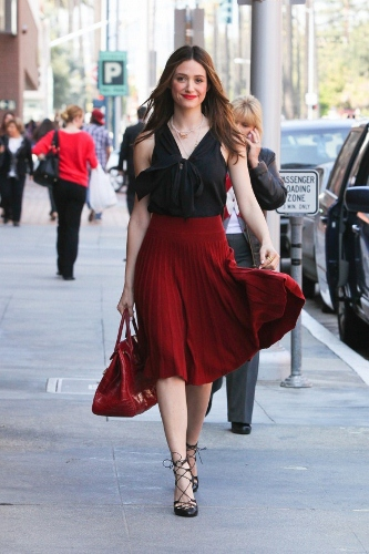 Pleated Skirt on Emmy Rossum