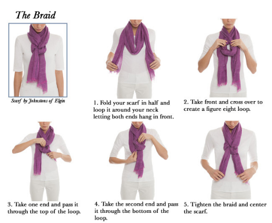 5 easy ways to tie a scarf the art of scarf tying made simple how to tie a scarf the braid ccuart Choice Image