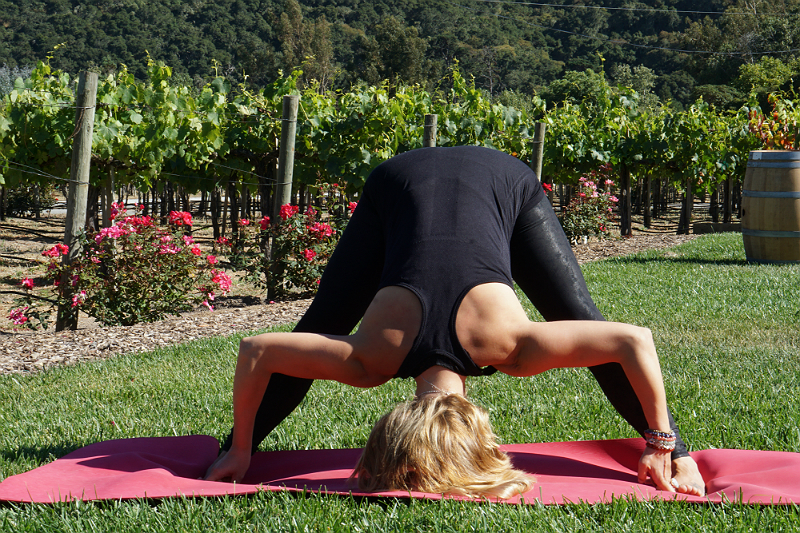 Yoga in the Vines Series - Standing Wide-Legged Forward Fold