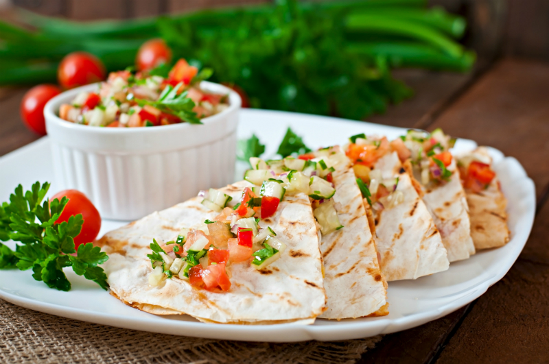 Game Day Party Recipes - BB-Q Pulled Pork Green Apple Quesadilla