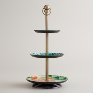 Jewelry Stand - Blue Enameld Three-Tiered Jewelry Stand