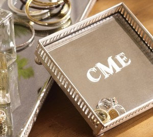 Jewelry Tray - Mirrored Dresser-Top Jewelry Tray with Monogram
