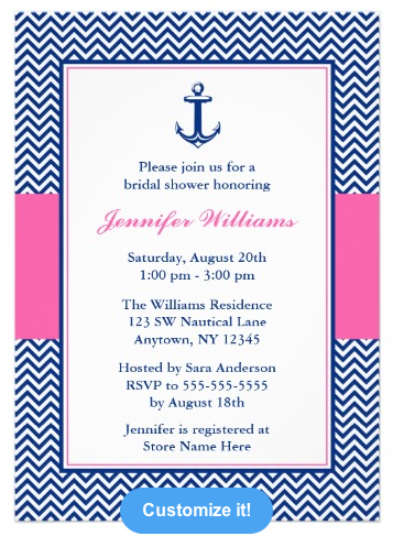 Nautical Chevron Anchor Blue Pink Bridal Shower Invitations from Zazzle