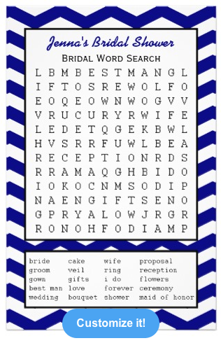 Navy Bridal Party Shower Word Search Game from Zazzle