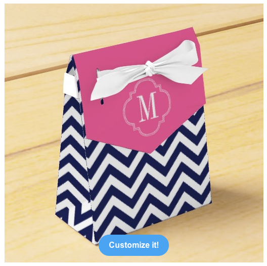 Navy Chevron Zigzag Personalized Monogram Party Favor Boxes from Zazzle