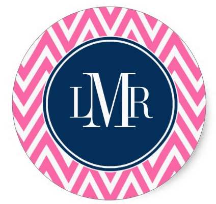 Pink and Navy Blue Chevrons Monogram Round Stickers from Zazzle