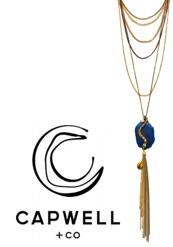 Holiday Jewelry Giveaway Capwell and Co. Snake and Faux Agate Multi Strand Pendant Necklace