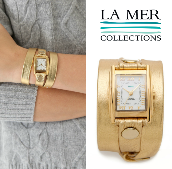 Holiday Jewelry Giveaway La Mer Collections Gold Simple Wrap Watch