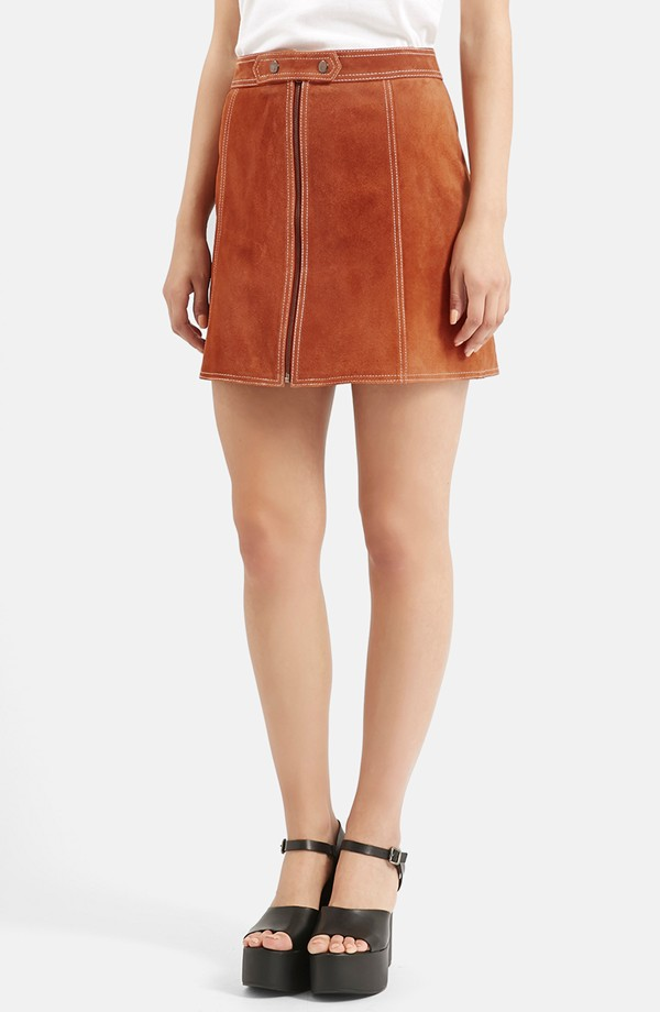 70s Style Trend - Suede A-Line Miniskirt