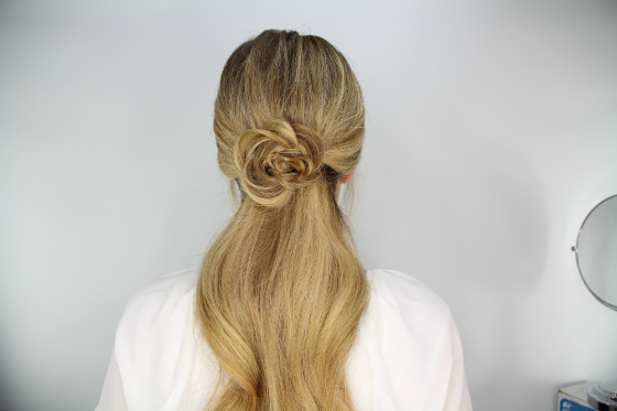 DIY Hair Tutorial Rosette Embellished Ponytail