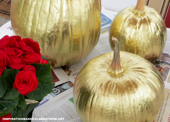 DIY Halloween Decor Tutorial - How To Create Glamorous Pumpkins - Metallic Gold Pumpkins
