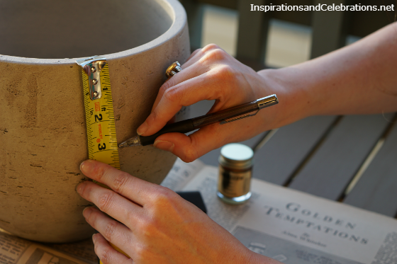 DIY Tutorial Gold Concrete Planter Pot