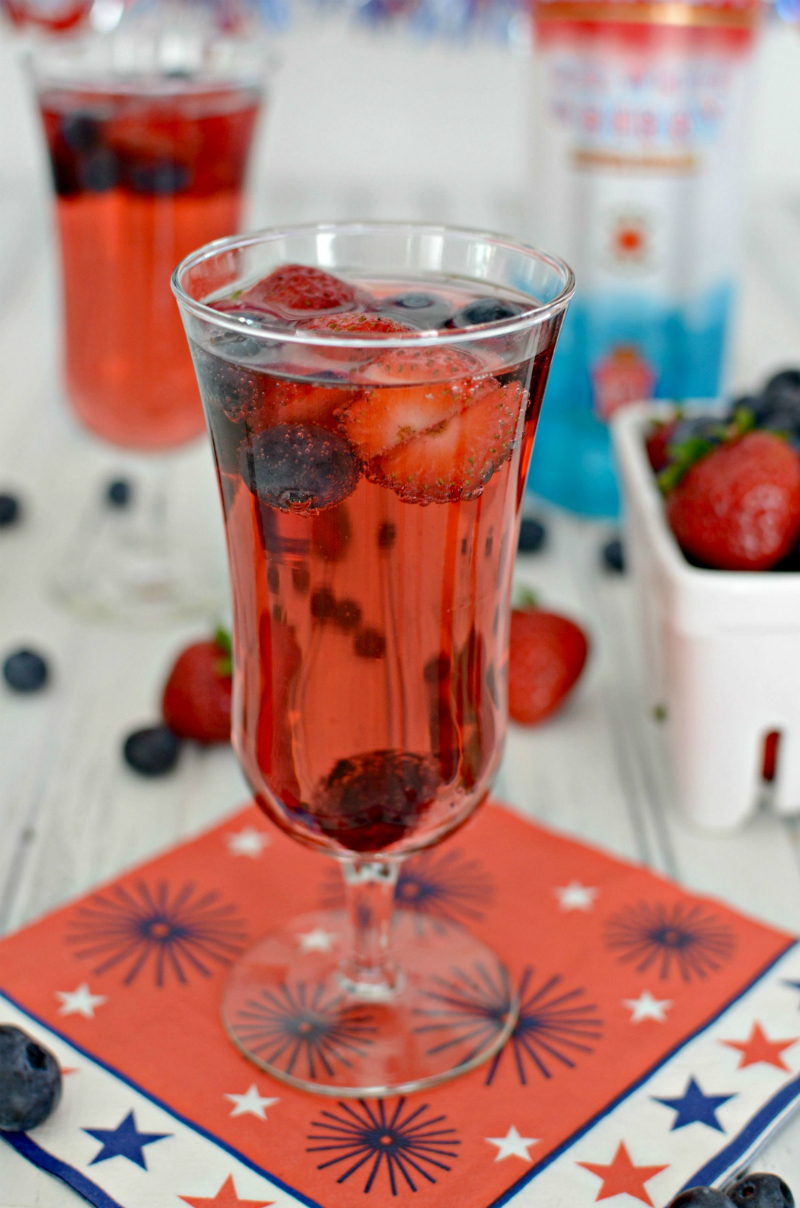 Labor Day Party Ideas - Red White Berry Sparkling Cocktail Recipe