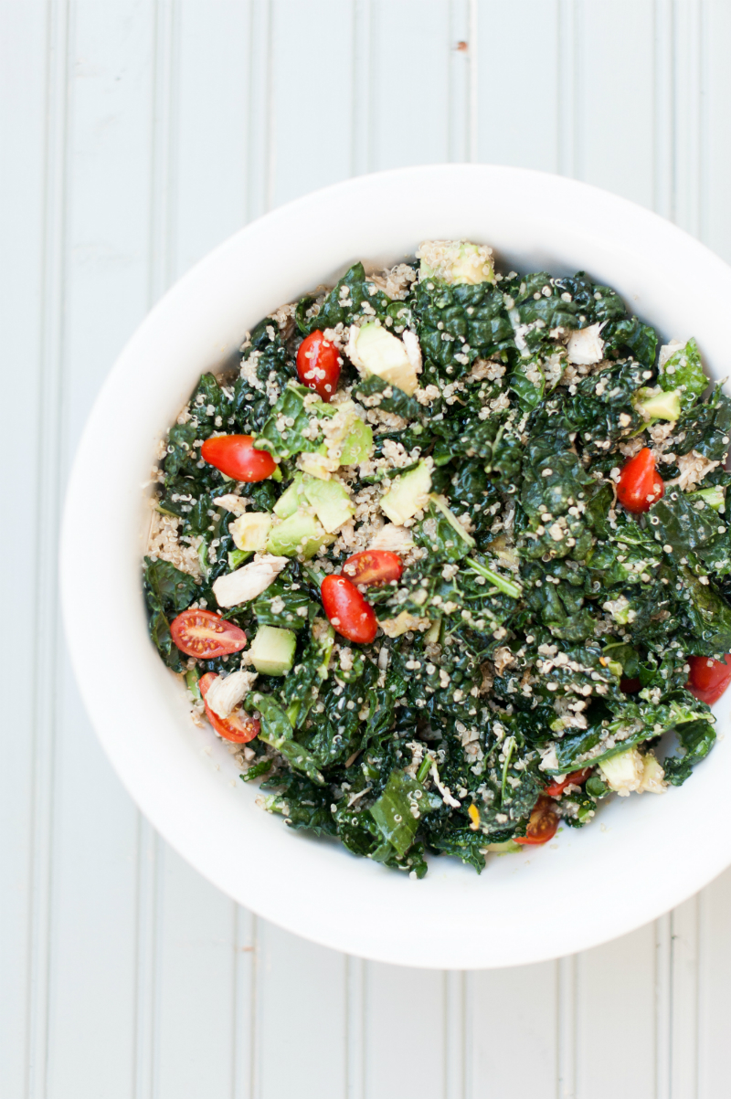 Labor Day Party Ideas - Shredded Chicken Kale and Avocado Salad Recipe