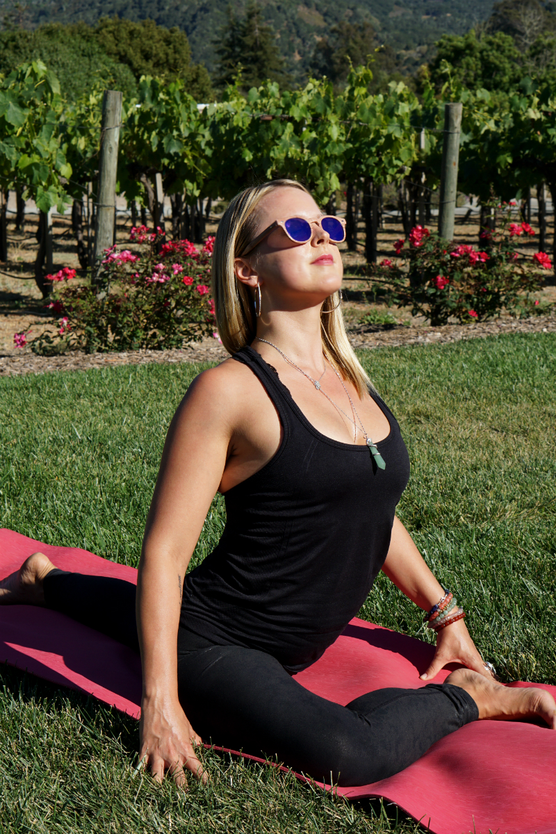 Yoga in the Vines Series - One-Legged Pigeon Pose