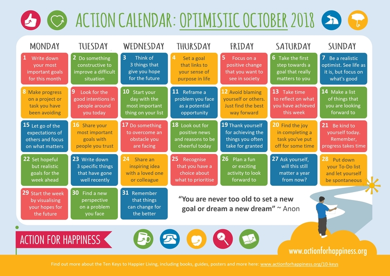 31 Days of Happiness - Optimistic October Calendar
