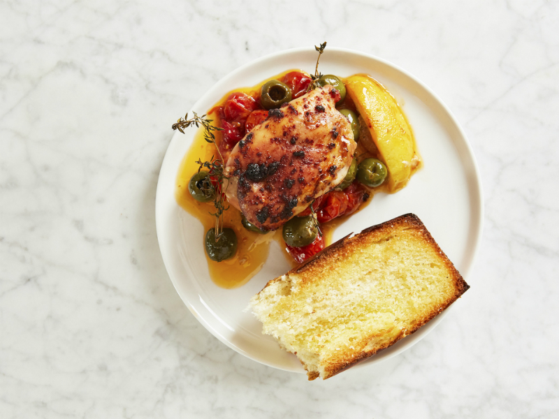 Mother's Day Brunch Recipes - Mediterranean Chicken with Toasted Baguette